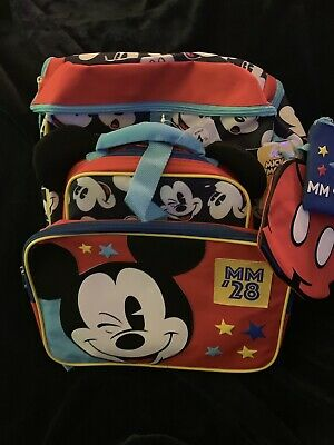 """New With Tags Disney Mickey Mouse Backpack """"Box Lunch"""" 4 Piece Set"""