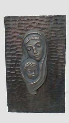 Vintage Cast Bronze Leopoldine Mimovich Mary & Baby Jesus Wall Plaque Statue