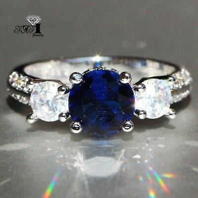 925 Silver Filled White Sapphire Birthstone Engagement Wedding Band Rings size 9