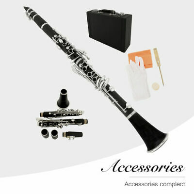 Black Professional School Band Bb Clarinet with Case + Care Kit for New Learner