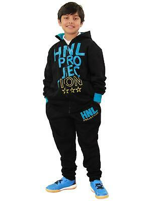 Boys Girls Tracksuit HNL Projection Print Blue Hoodie & Botom Jogging Suit 7-13Y