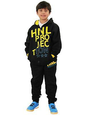 Boys Girls Tracksuit HNL Projection Print Yellow Hoodie & Botom Jogging Gym Suit