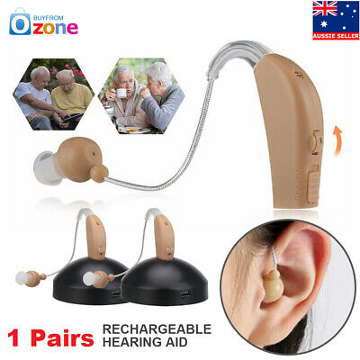 2X Rechargeable Acousticon Behind Ear Hearing Aids Audiphone BTE Sound Amplifier