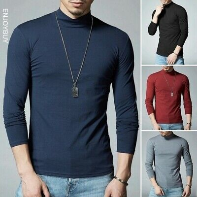 Men Knitted Turtleneck Crew Neck Sweater Slim Fit Warm Bottoming Sweater Tops