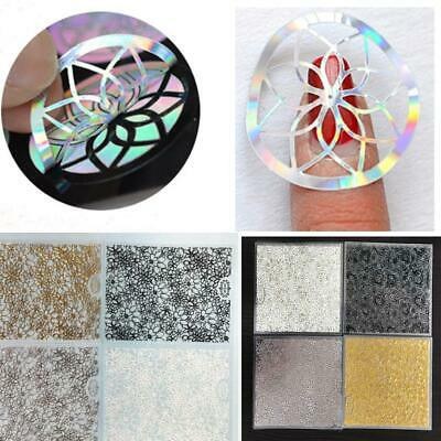 US SHIP Fashion 8 Sheets/Set Hollow Out Embossed Flower 3D Nail Art Stickers