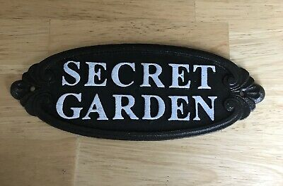 Secret Garden Cast Iron Wall Sign Fence Post Gate Large Size Vintage Shabby Chic