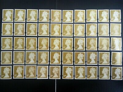 50 Gold 1st CLASS  STAMPS First - UNFRANKED OFF PAPER., NO GUM FV £35..