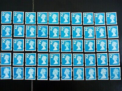 50 BLUE 2nd CLASS  STAMPS 2ND - UNFRANKED OFF PAPER., NO GUM FV £29.