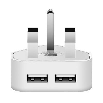 UK Mains Wall 3 Pin Plug Adapter Charger Power 2 USB Ports for Phones Tablets UK