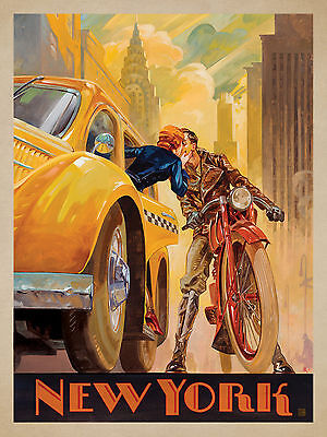 New York cab  art Vintage Illustrated Travel Poster Print painting Framed Canvas