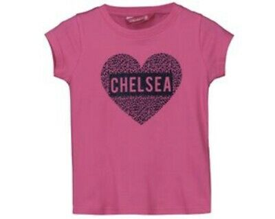 Chelsea FC Girls Pink Sparkle Heart T-Shirt - Age: 4-5 Years