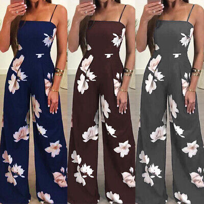 AU Women's Floral Backless Jumpsuit Long Pant Playsuit Strappy Overall Trouser