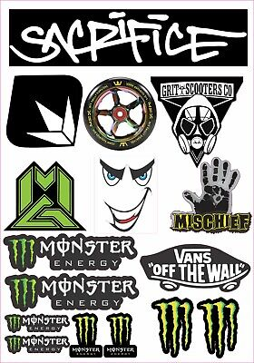 Scooter mixed sticker sheet 16 stickers in total mgp grit sacrifice monster