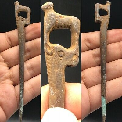 Wonderful Rare Old Roman Empire Bronze Hair PIn With Two Animal #A2