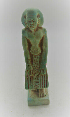 Scarce Circa 700-500Bce Ancient Egyptian Glazed Faience Kneeling Pharoah Statue