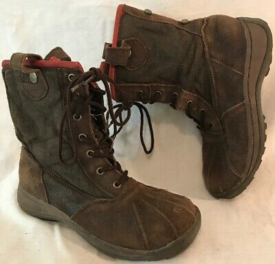 Girls Fat Face Dark Brown Leather Lovely Boots Size 13 (119v)