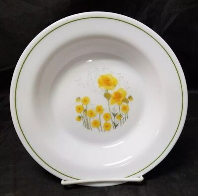 "Arc Arcopal Soup Bowls Set of 3, White w Yellow Flowers 8.5"" Salad Dishes France"