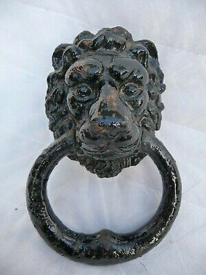 Vintage Iron Lion Face Door Knocker+Nut+Bolt Painted Black Architectural Detail