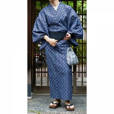 Japanese Men's Yukata Summer Kimono Obi Koshi-Himo Set C-18 Japan with Tracking
