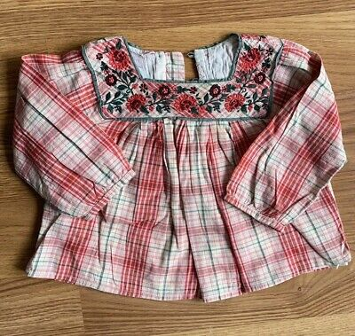 Monsoon Baby Girl Embroidered Top Check Plaid Cute Toddler Shirt Size 1 12-18m