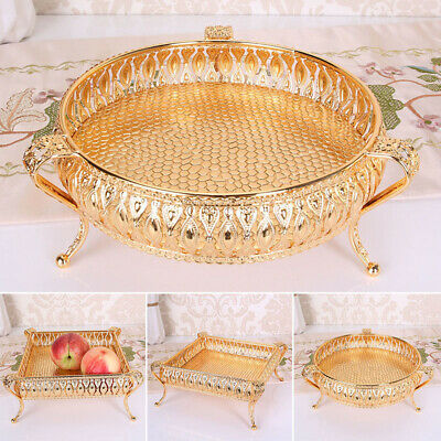 Round / Square Tray Gold Candle Mirror Glass Vintage Metal Plate Display Case