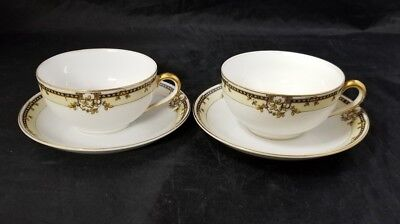 Noritake Erie China Cup & Saucer Set of 2 White Teacups Coffee Gold Trim Japan
