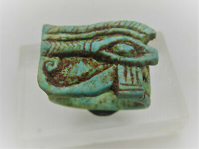 Beautiful Ancient Egyptian Glazed Faience Ring Eye Of Horus