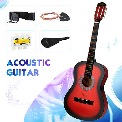 38'' Beginners Acoustic Guitar with Case Strap Tuner & Pick Steel Strings Red