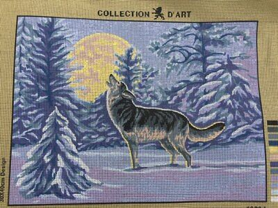 Tapestry - Printed Canvas  - Wolf and Moon - Made in E.U for Collection D'Art