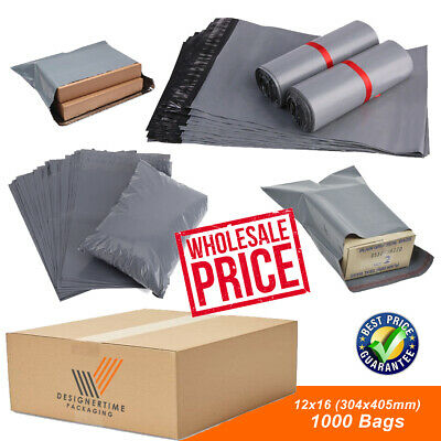 1000 12x16 Strong Grey Mailing Mail Postage Bags Poly Postal Self Seal Wholesale