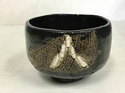 Y0062 Japanese CHAWAN Raku-ware Tea Ceremony bowl pottery japan antique