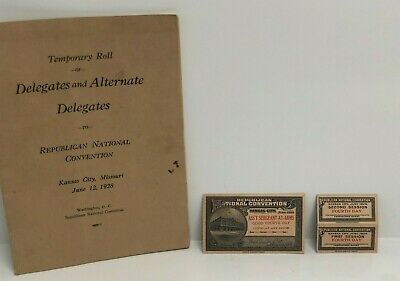 1928 Republican National Convention Ticket Stub and Roll of Delegates