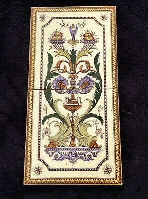 """PAIR OF DECORATIVE GLAZED VICTORIAN CONJOINTED TILES 6"""" x 6"""" ROCOCO STYLE LOT 2"""