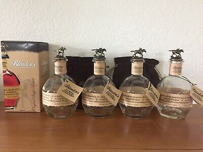 BLANTONS Single Barrel Bourbon Whiskey - Four EMPTY Bottles w/Tags - COLLECTIBLE