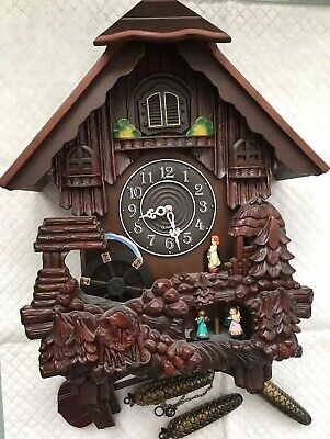 Vintage German Cuckoo Clock  Wood & Plastic Bird Black Forest Style With 3