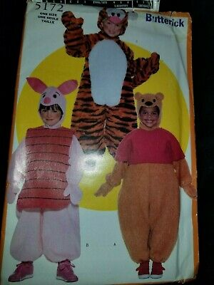 Butterick Easy  Classic Costume Halloween Winnie the Pooh Tigger Piglet