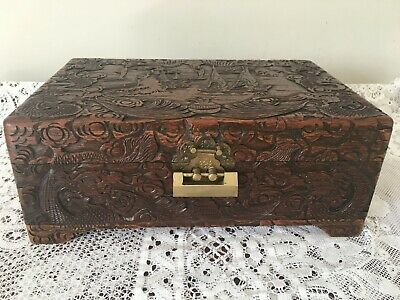 Vintage Chinese carved wooden box with brass lock and key