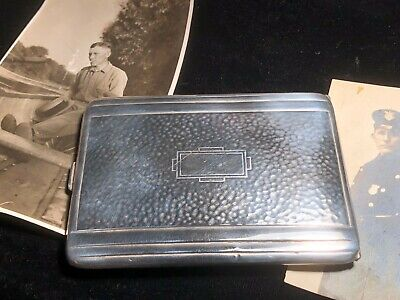 Antique Art Deco Sterling Silver CIGARETTE CASE with gold wash inside.