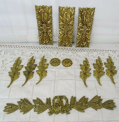 Antique French Set of Gilded Bronze Decoratives Pieces Furnitures Pediment