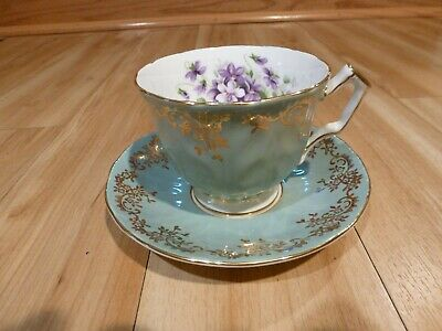 AYNSLEY FINE ENGLISH BONE CHINA FOOTED CUP & SAUCER GREEN w/ VIOLETS &GOLD