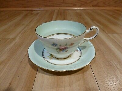 PARAGON FOOTED CUP & SAUCER PALE BLUE w/FLOWERS