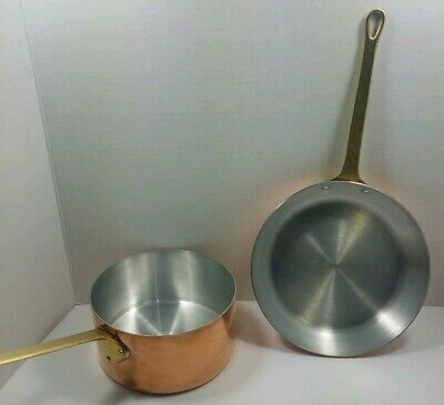 """French Copper Heavy Duty 8"""" Skillet & 1 Quart Sauce Pan"""