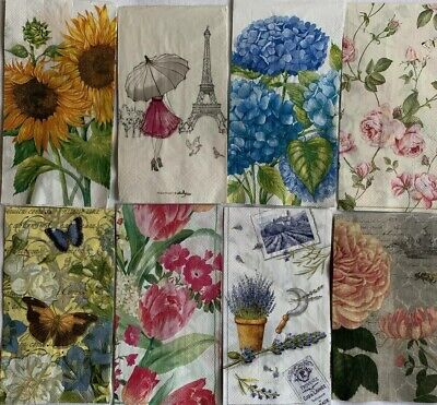 Set Of 8 Single Different Paper Napkins For Decoupage Or Other Craft