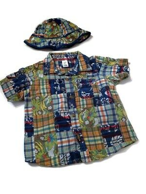 BABY GAP Boys Hawaiian Camp Shirt Size 12-18 Months Blue With Hat
