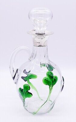Antique 1918 Birmingham ~Sterling Silver~ Green Art Glass Claret Jug Decanter