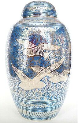 Adult Cremation Urn for Ashes - Beautiful Blue & Silver 'Birds of Freedom'