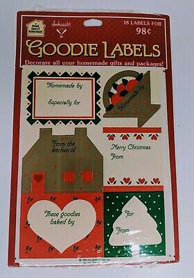 Vintage NOS 1986 Hallmark Christmas Gift Tags Home Sweet Homemade Goodie Labels