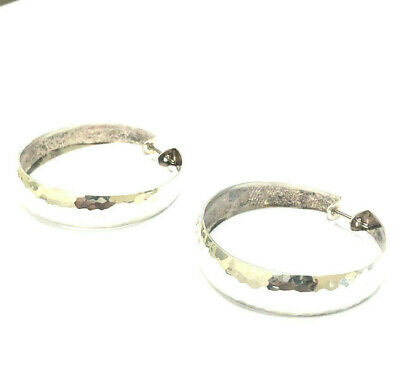"""James Avery Sterling Silver Hammered Ear Hoops 1 1/2"""""""