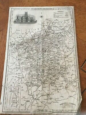 Genuine Original County Map Pigot &co. 1823-8 - Worcestershire-Rare
