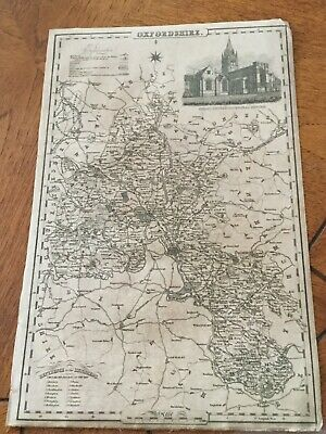 Genuine Original County Map Pigot &co. 1823-8 - Oxfordshire-Rare